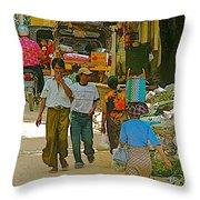 Street Scene In Tachilek-burma Throw Pillow