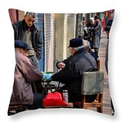 Street Scene With Mahjong Game Shanghai China Throw Pillow
