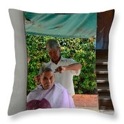 Street Side Barber Cuts Client Hair Singapore Throw Pillow
