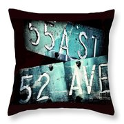 Street Sign In The Dark Throw Pillow
