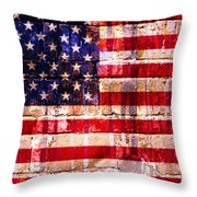 Street Star Spangled Banner Throw Pillow by Delphimages Photo Creations