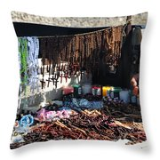 Street Vendor Selling Rosaries Throw Pillow
