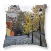 Street View In Gyor Throw Pillow