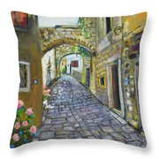 Street View In Pula Throw Pillow