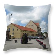 Street View. Silute Lithuania May 2011 Throw Pillow