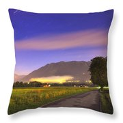 Street With A Tree And Mountain Throw Pillow