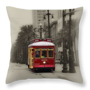 Streetcar On Canal Street - New Orleans Throw Pillow