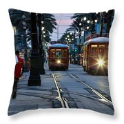 Streetcars On Canal Street Throw Pillow
