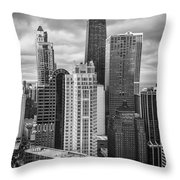 Streeterville From Above Black And White Throw Pillow