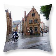 Streets Of Brugges 3 Throw Pillow