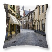 Streets Of Bruges Throw Pillow