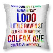 Streets Of Denver 1 Throw Pillow by Naxart Studio