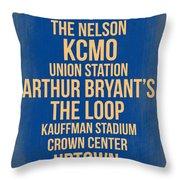Streets Of Kansas 3 Throw Pillow by Naxart Studio