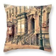Streets Of Old New York City Watercolor Throw Pillow