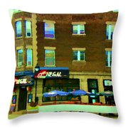 Streets Of Pointe St Charles Centre And Charlevoix Summer La Chic Regal Pub Scenes Carole Spandau Throw Pillow