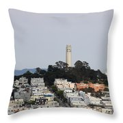 Streets Of San Francisco With Coit Tower Throw Pillow