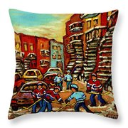 Streets Of Verdun Paintings He Shoots He Scores Our Hockey Town Forever Montreal City Scenes  Throw Pillow