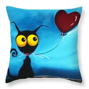 Stressie Cat And Her Love Balloon Throw Pillow