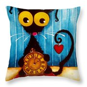 Stressie Cat And The Tick Tock Throw Pillow