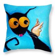 Stressie Cat Angel Throw Pillow