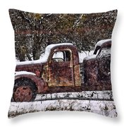 Stretch Limo In The Blizzard Throw Pillow