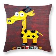 Stretch The Giraffe License Plate Art Throw Pillow