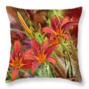 Striking Daylilies - Digital Art Throw Pillow