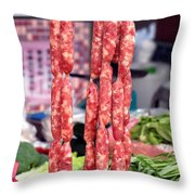 String Of Handmade Sausages Throw Pillow