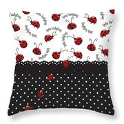 String Of Ladybugs Throw Pillow