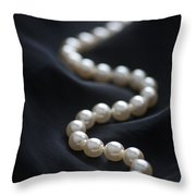 String Of Pearls On Black Silk Throw Pillow