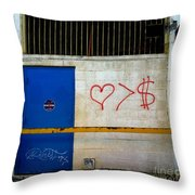 Strip District Doorway Number Fout Throw Pillow by Amy Cicconi