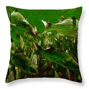 Striped Bass - Painterly V2 Throw Pillow