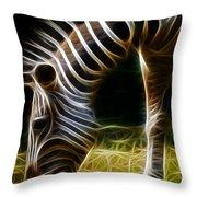 Striped Fractal Throw Pillow