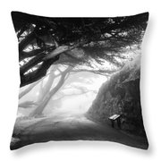 Stroll In The Fog Throw Pillow by Valeria Donaldson