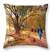 Stroll In The Park. Throw Pillow