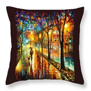 Stroll With My Best Friend - Palette Knife Oil Painting On Canvas By Leonid Afremov Throw Pillow