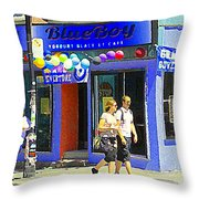 Strolling By The Blue Boy Frozen Yogurt Glacee Cafe Plateau Mont Royal City Scene Carole Spandau   Throw Pillow