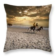 Strolling Horses Throw Pillow