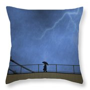 Strolling In The Rain Throw Pillow