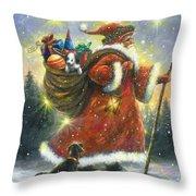 Strolling Santa II Throw Pillow