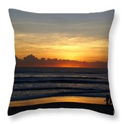 Strolling The Beach During Sunset Throw Pillow