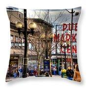 Strolling Towards The Market - Seattle Washington Throw Pillow