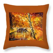 Strong Birch - Palette Knife Oil Painting On Canvas By Leonid Afremov Throw Pillow