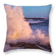 Strong Winds Blow Waves Onto Rocks Throw Pillow