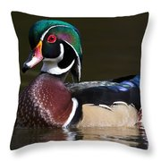 Strutting His Stuff - Wood Duck Throw Pillow