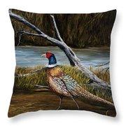 Strutting Pheasant Throw Pillow