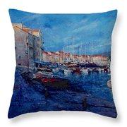 St.tropez  - Port -   France Throw Pillow by Miroslav Stojkovic - Miro