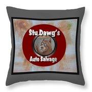Stu Dawg's Auto Salvage Throw Pillow