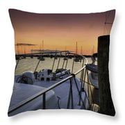 Stuart Marina At Sunset Throw Pillow