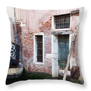 Stucco And Brick Canalside Building Venice Italy Throw Pillow